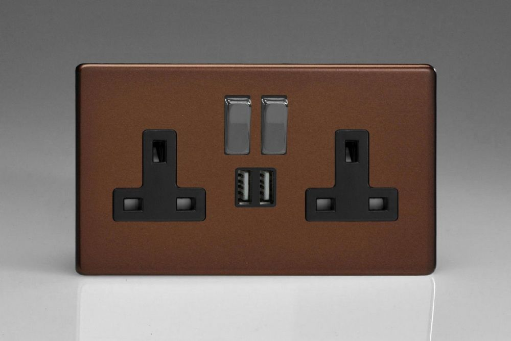 Varilight 2 Gang 13a Double Pole Switched Socket With Metal Rockers 2 5v Dc 2100ma Usb Ports Mocha
